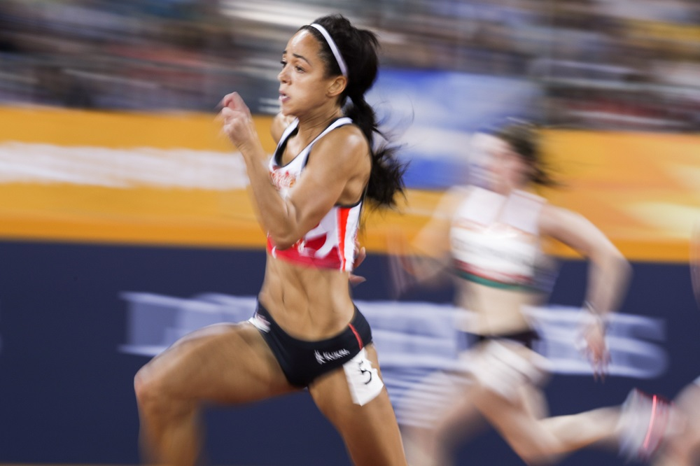 Katarina Johnson-Thompson on the way to winning Gold at the Commonwealth Games 2018