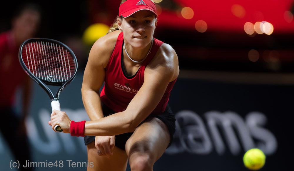 Angelique Kerber in the first round of the Porsche Tennis Grand Prix, WTA Stuttgart