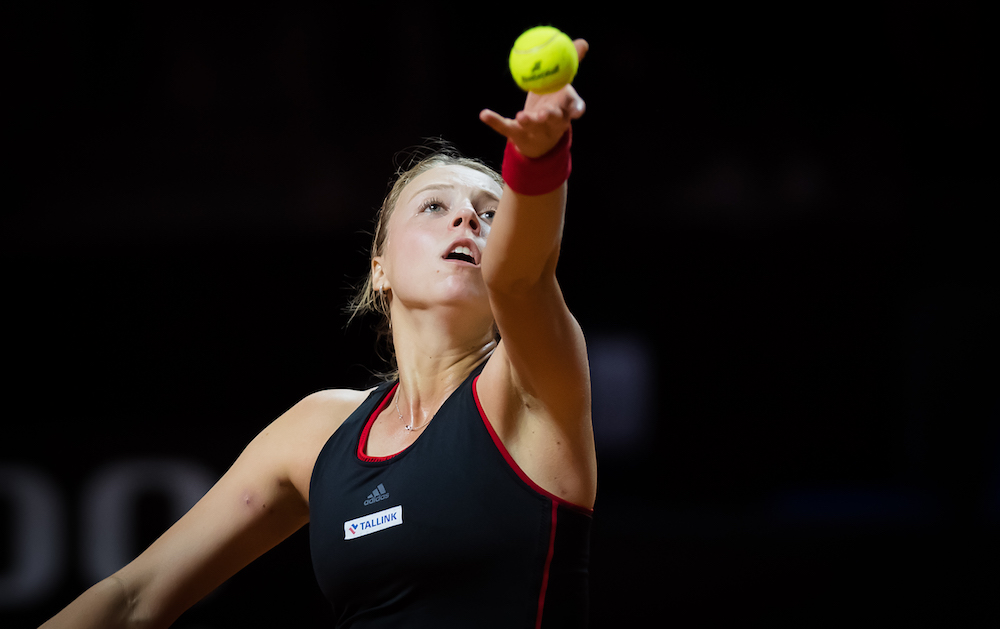 Anett Kontaveit in the quarter-final of the Porsche Tennis Grand Prix, WTA Stuttgart 2018