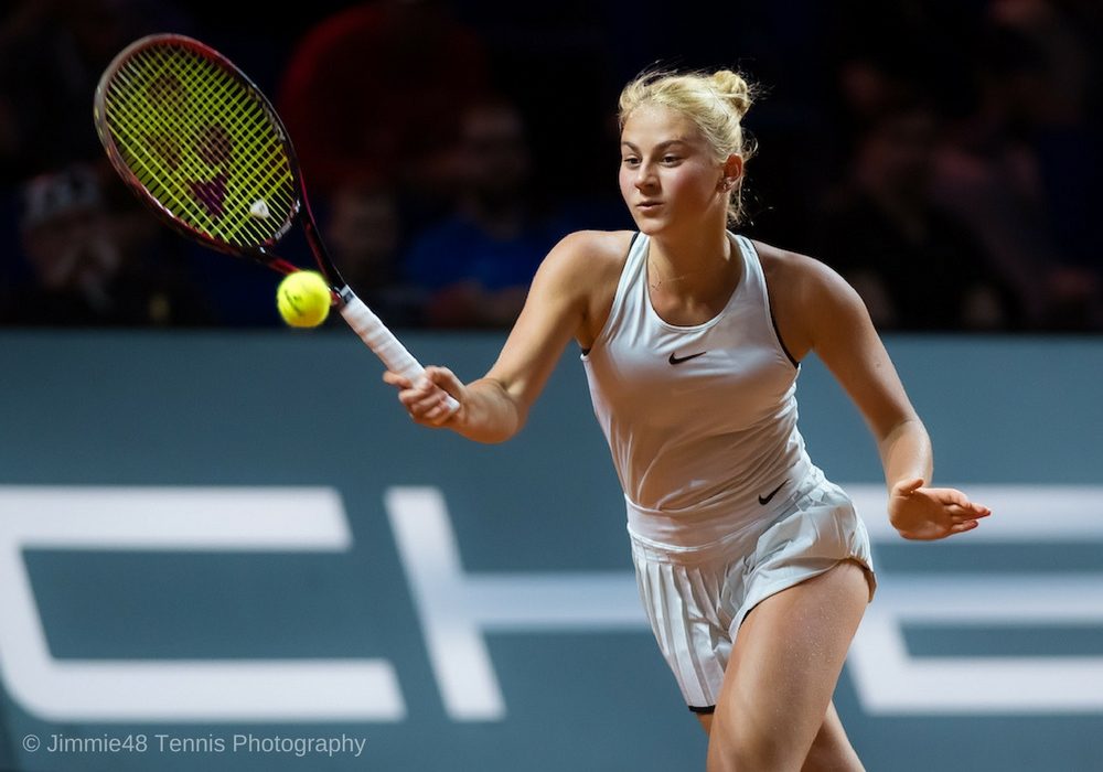 Marta Kostyuk in the final round of qualification at the Porsche Tennis Grand Prix, WTA Stuttgart 2018 | Jimmie48 Tennis Photography