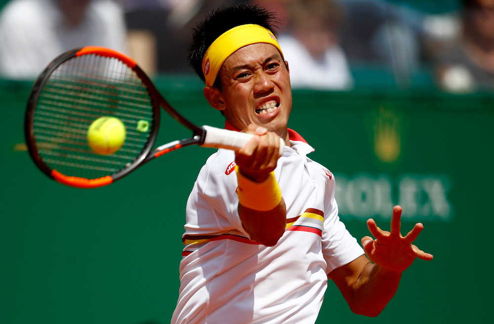 Kei Nishikori in the third round of the Monte Carlo Rolex Masters, ATP Monte Carlo 2018