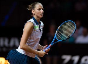 Karolina Pliskova in the semi-final of the Porsche Tennis Grand Prix, WTA Stuttgart 3018