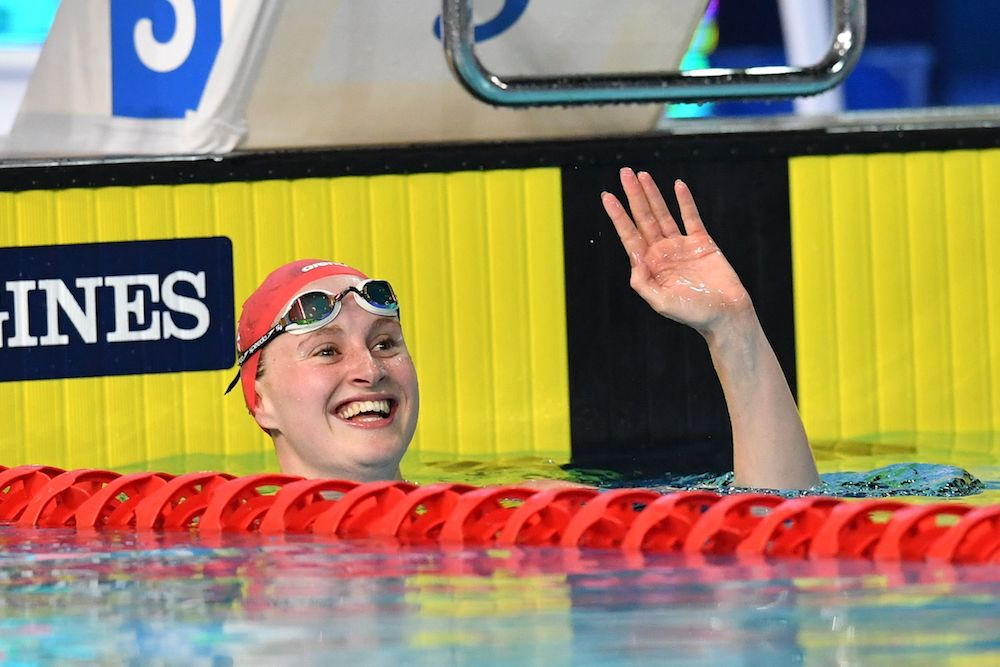 Sarah Vasey wins the Women's 50m Breaststoke, Commonwealth Games 2018