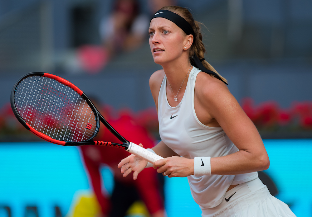 Petra Kvitova in the first round of the WTA Mutua Madrid Open, 2018
