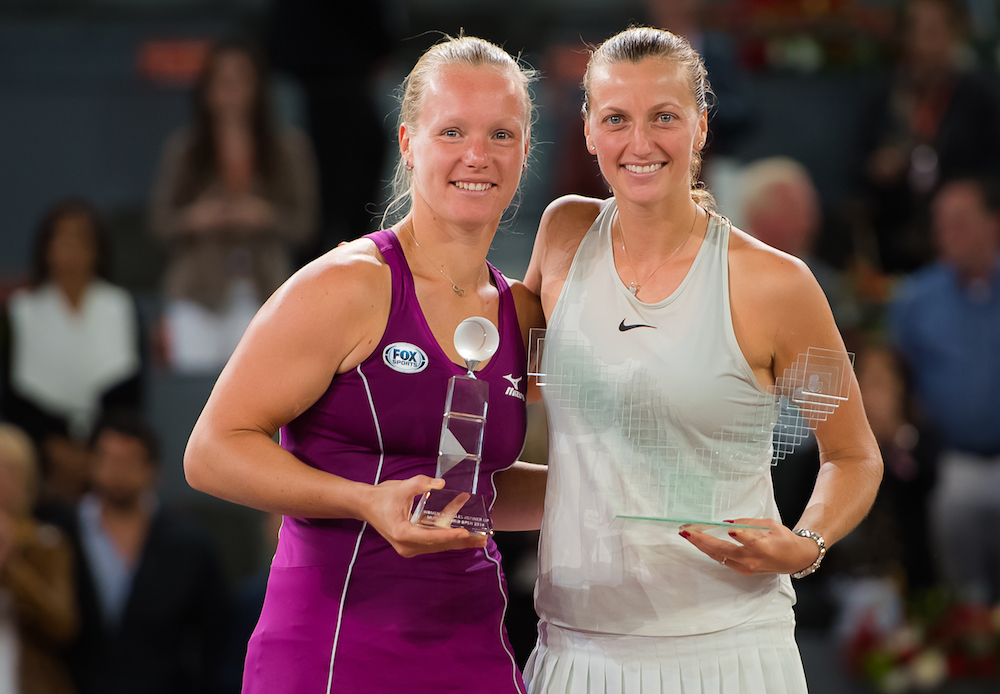 Kiki Bertens & Petra Kvitova after the final of the WTA Mutua Madrid Open, 2018