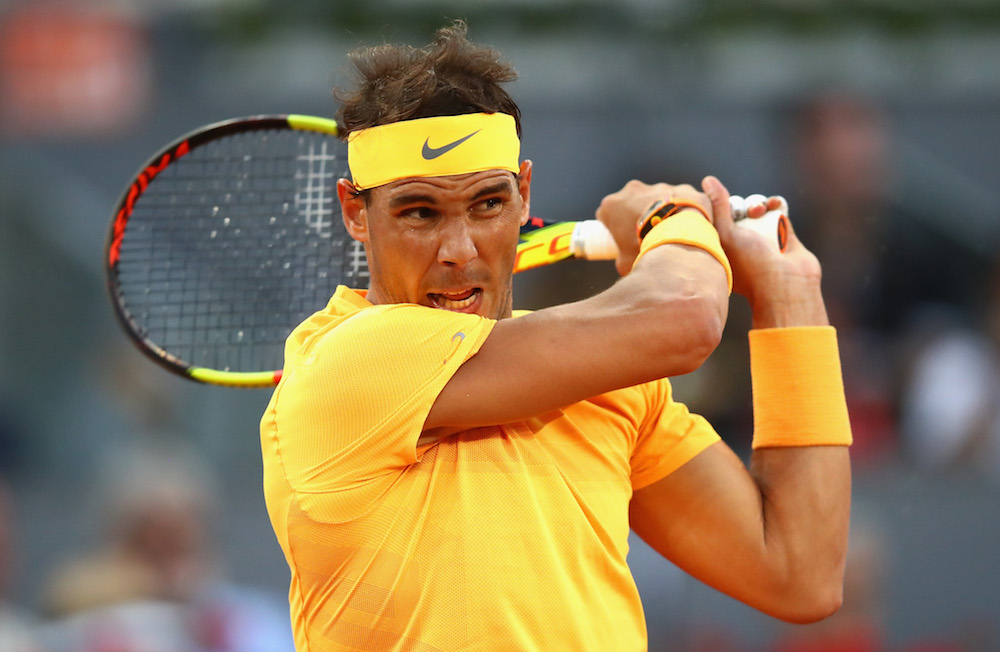 Rafael Nadal in the third round of the ATP Mutua Madrid Open, 2018