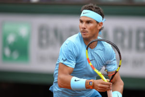 Rafael Nadal in the first round of Roland Garros, 2018
