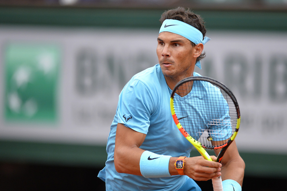 Rafael Nadal in the first round of Roland Garros, 2018