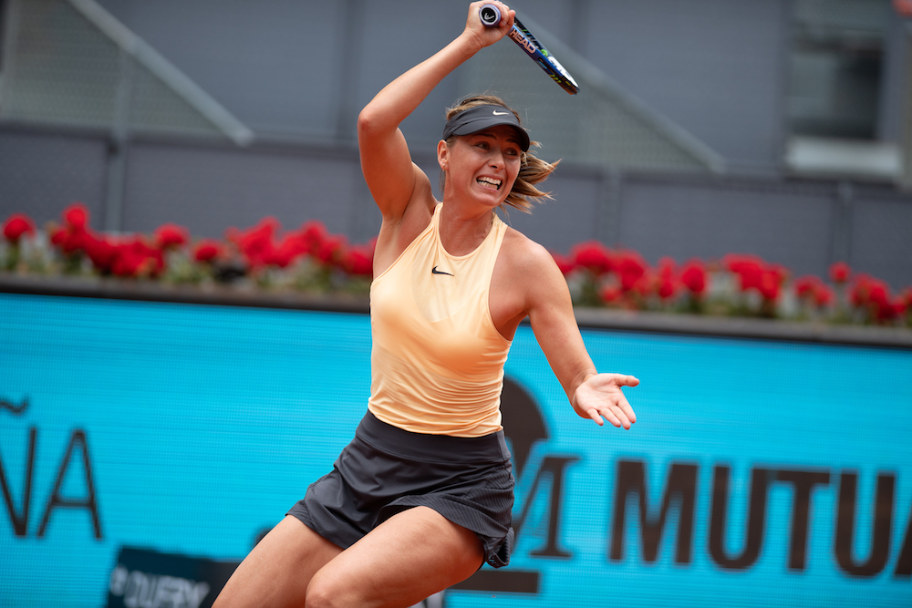 Maria Sharapova in the second round of the WTA Mutua Madrid Open, 2018