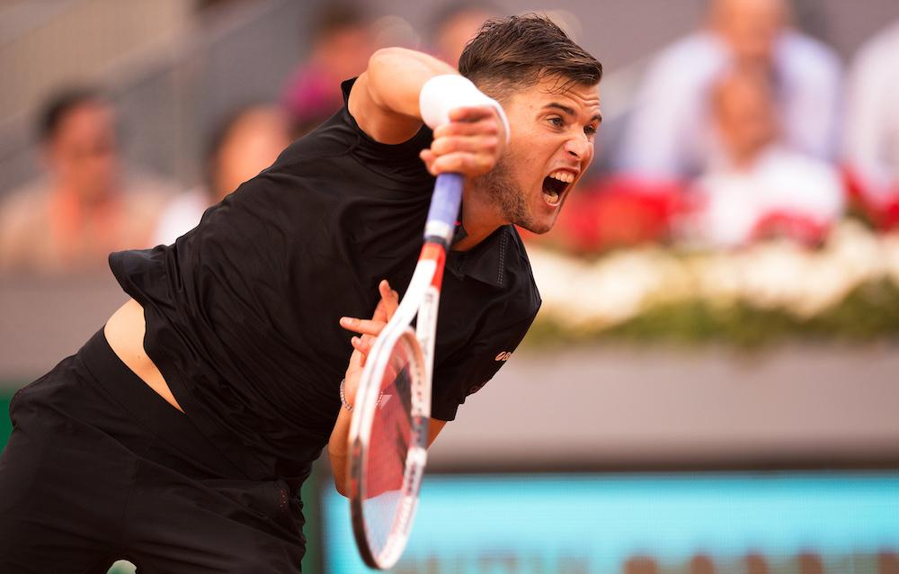 Dominic Thiem in the quarter-finals of the ATP Mutua Madrid Open, 2018