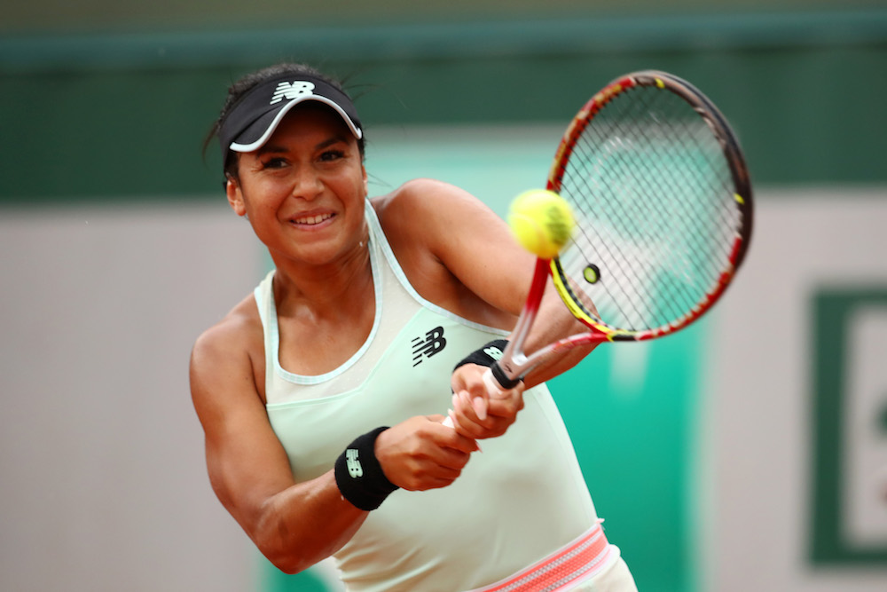 Heather Watson in the first round of Roland Garros, 2018