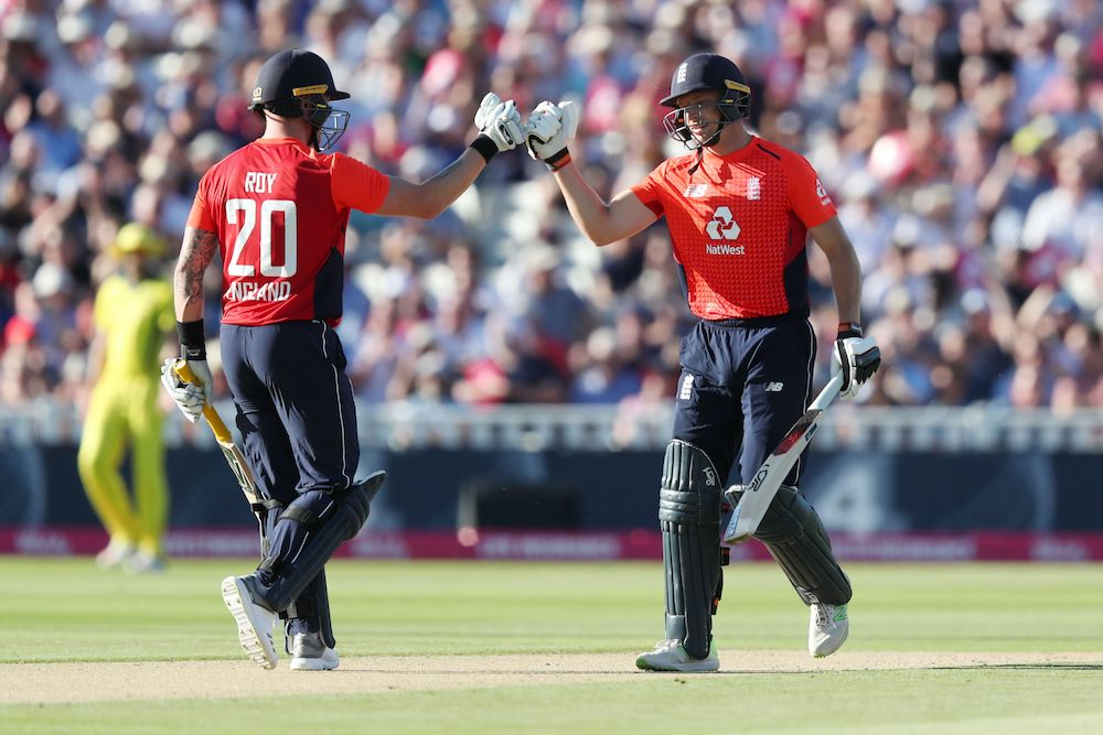 Jos Buttler & Jason Roy in the T20 between England and Australia, 2018