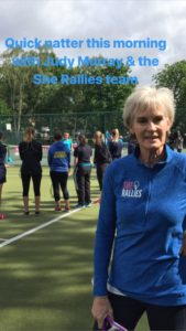 Judy Murray during the She Rallies session at the Nature Valley Classic, Birmingham 2018