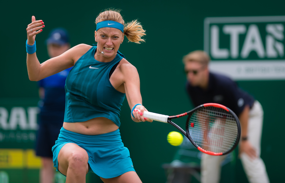 Petra Kvitova in the first round of the Nature Valley Classic, WTA Birmingham 2018
