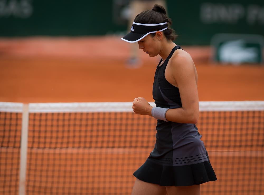 Garbine Muguruza in the first round of Roland Garros, 2018