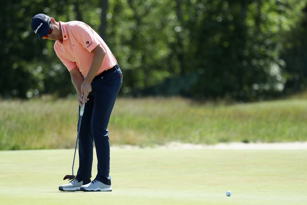 Justin Rose practising ahead of the US Open, 2018