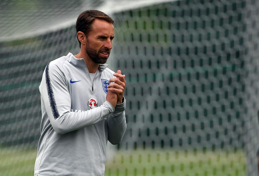 England's coach Gareth Southgate in a training session, World Cup 2018