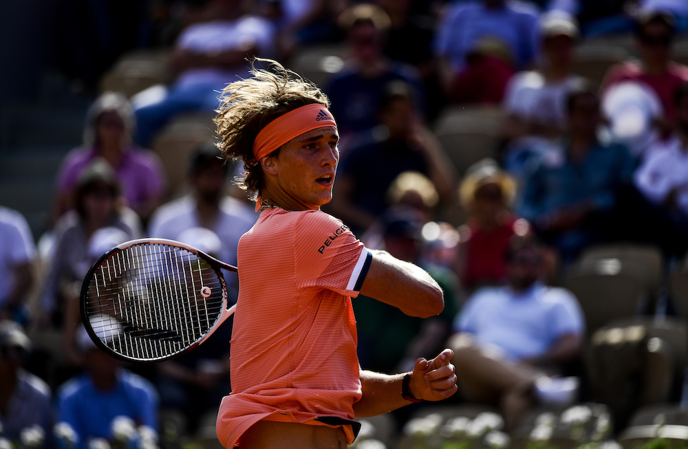 Alexander Zverev in the first round of Roland Garros, 2018