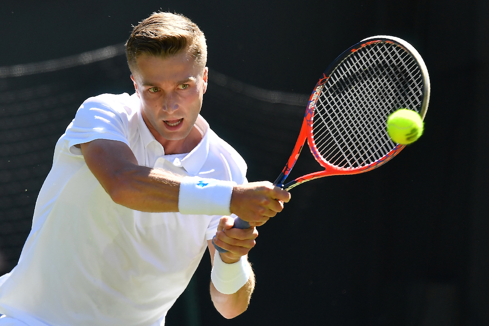 Liam Broady in the first round of Wimbledon