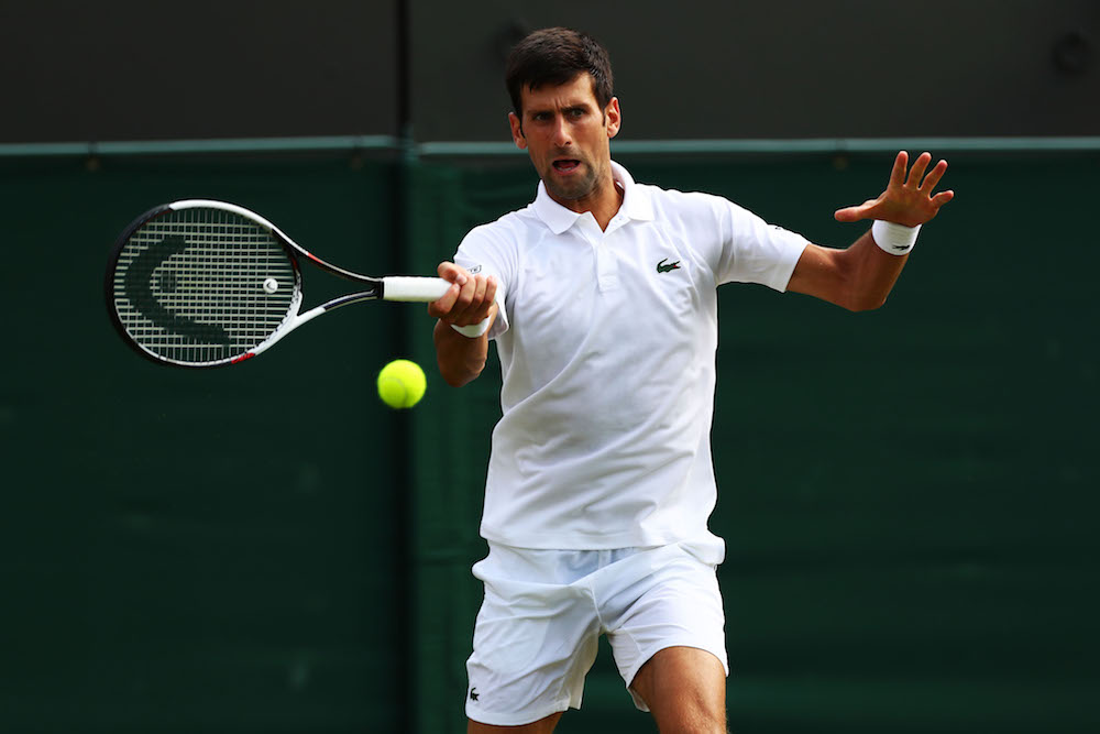 Novak Djokovic in the second round of Wimbledon 2018