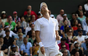 Kyle Edmund in the third round of Wimbledon 2018