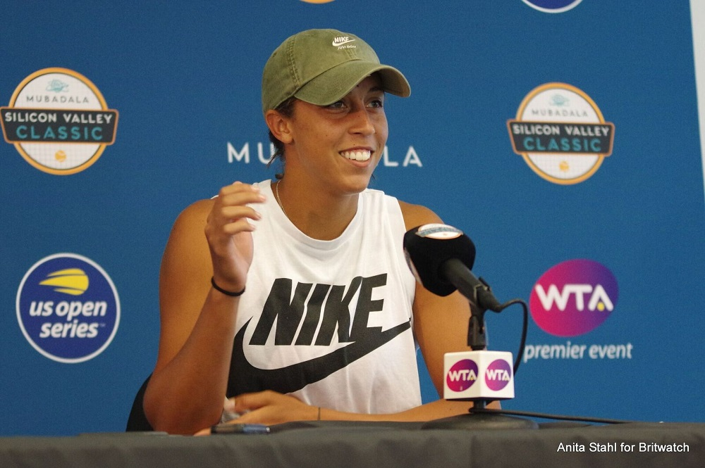 Madison Keys at the Mubadal Silicon Valley Classic All Access Hour with media