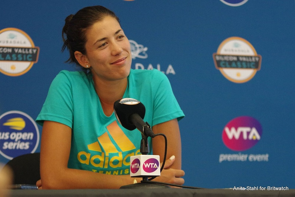 Garbine Muguruza at the Mubadala Silicon Valley Classic All Access Hour with media