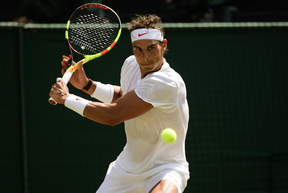 Rafael Nadal in the third round of Wimbledon 2018
