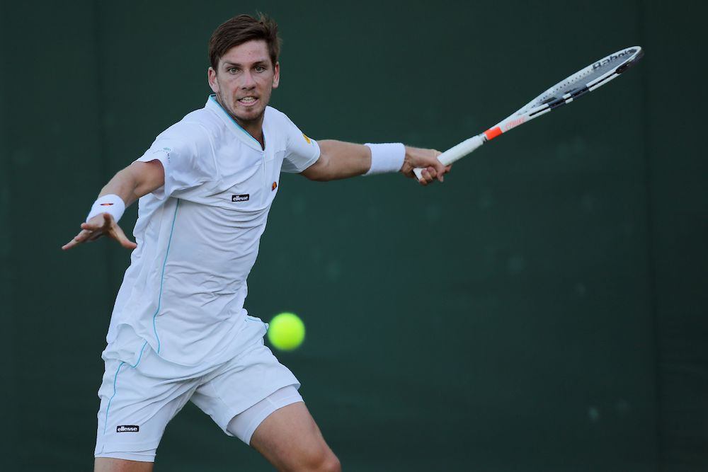 Cameron Norrie in the first round of Wimbledon 2018