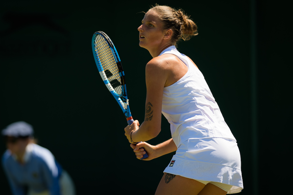 Karolina Pliskova in the first round of Wimbledon 2018