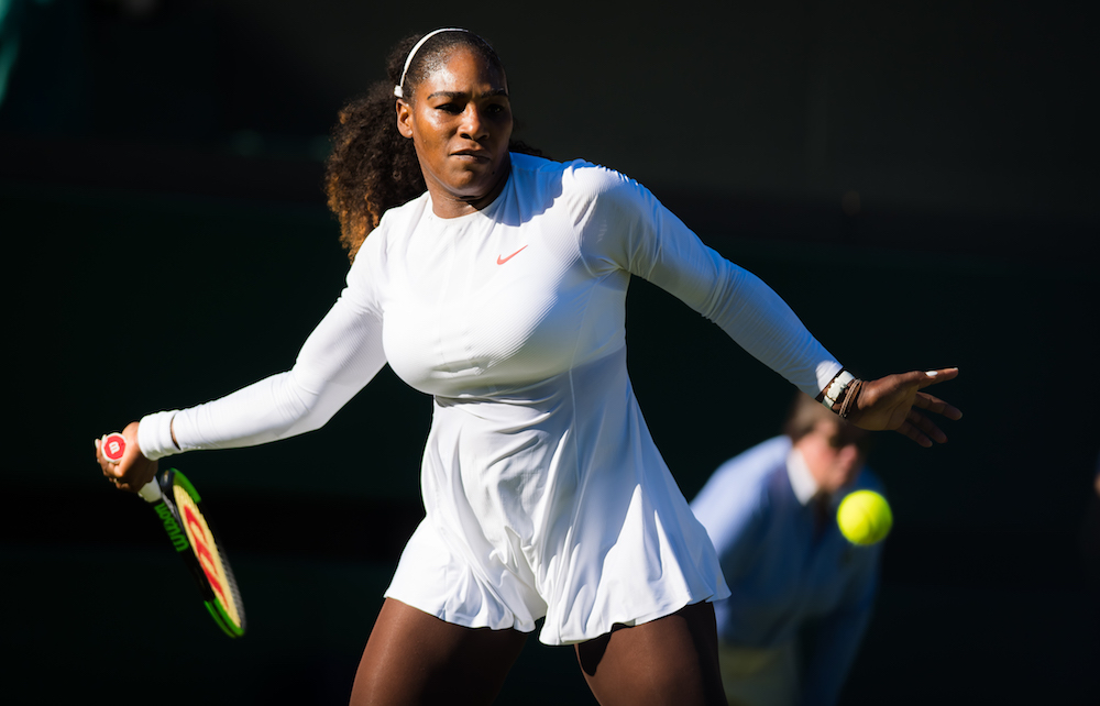 Serena Williams in the first round of Wimbledon 2018
