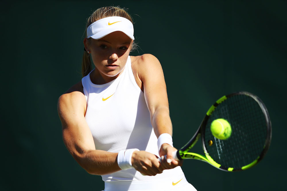 Katie Swan in the first round of Wimbledon, 2018