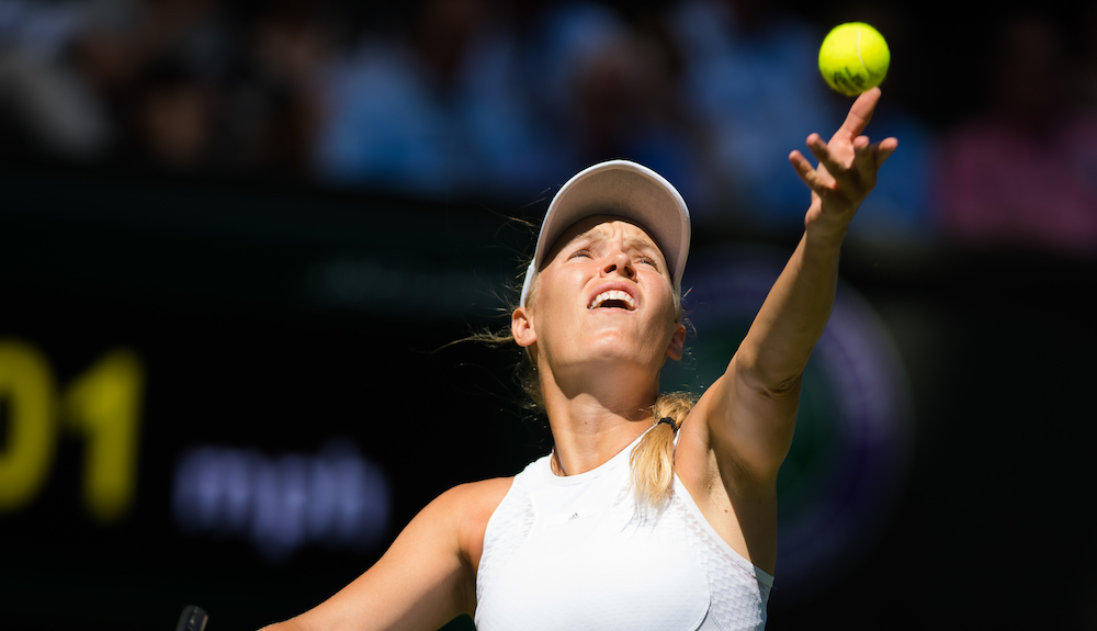 Caroline Wozniacki in the first round of Wimbledon 2018