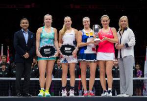 Kiki Bertens & Johanna Larson (RU), Andrea Hlavackova & Timea Babos (Winners) at the WTA Finals, Singapore 2017