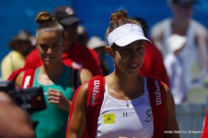 Mihaela Buzarnescu and Maria Sakkari  before the final of the Mubadala Silicon Valley Classic, WTA San Jose 2018