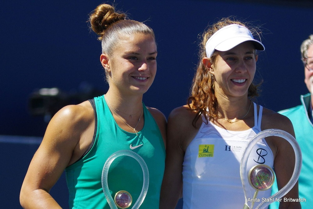 Mihaela Buzarnescu and Maria Sakkari after the final of the Mubadala Silicon Valley Classic, WTA San Jose 2018
