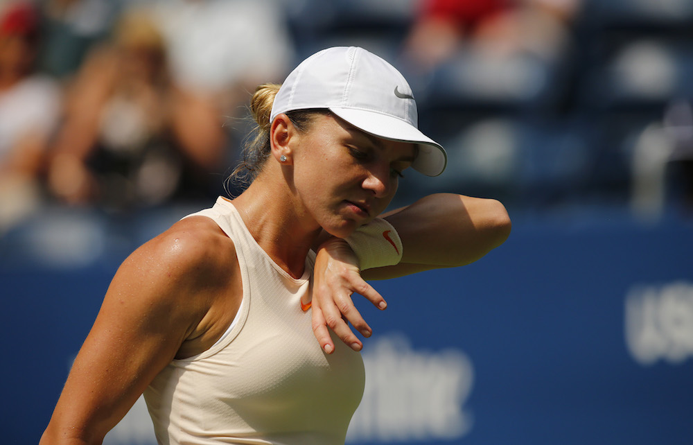 Simona Halep in the first round of the US Open, 2018