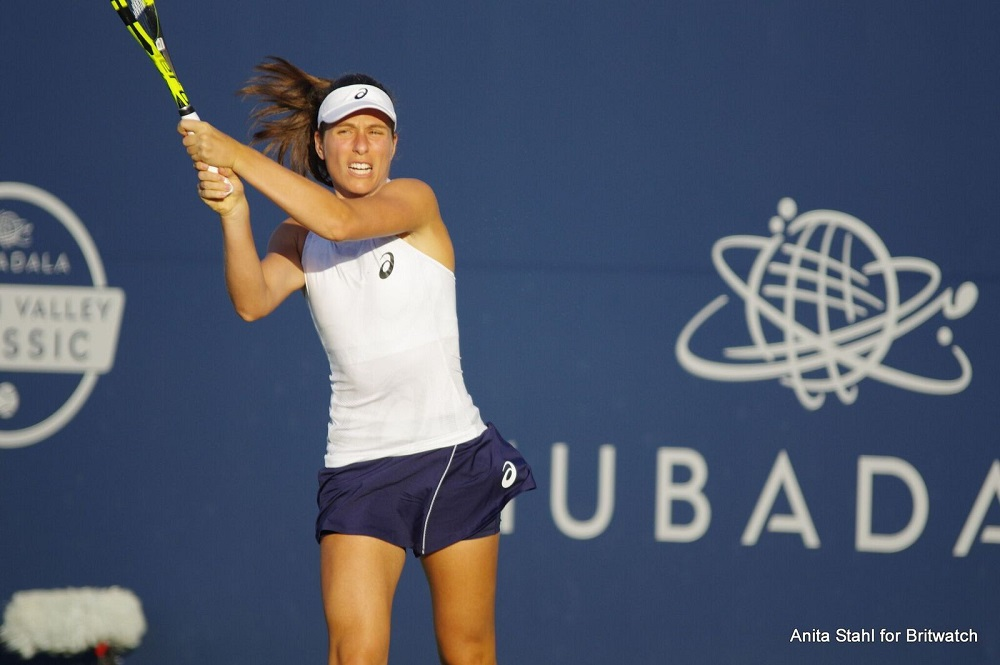 Johanna Konta in the first round of the Mubadala Silicon Valley Classic, WTA San Jose 2018