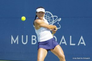 Claire Liu in the first round of the Mubadala Silicon Valley Classic, WTA San Jose 2018