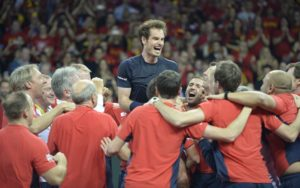 Andy Murray celebrates with the GB team on winning the Davis Cup Final 2015
