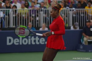 Serena Williams in the first round of the Mubadala Silicon Valley Classic, WTA San Jose 2018