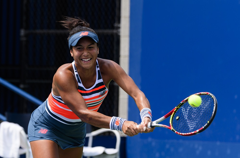 Heather Watson in the first round of the US Open, New York 2018