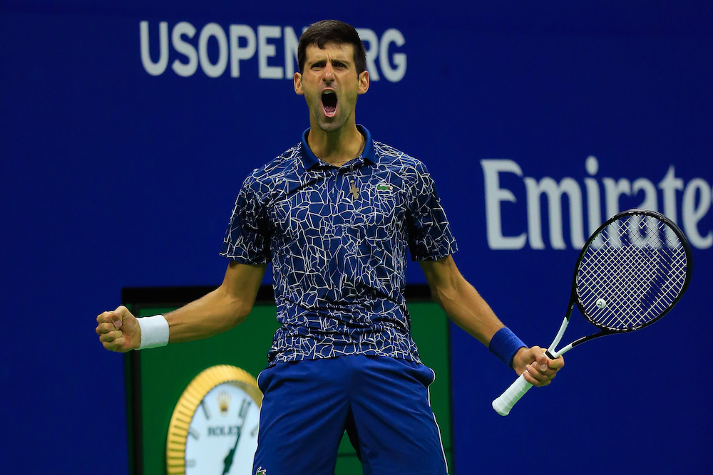 Novak Djokovic in the final of the US Open, New York 2018