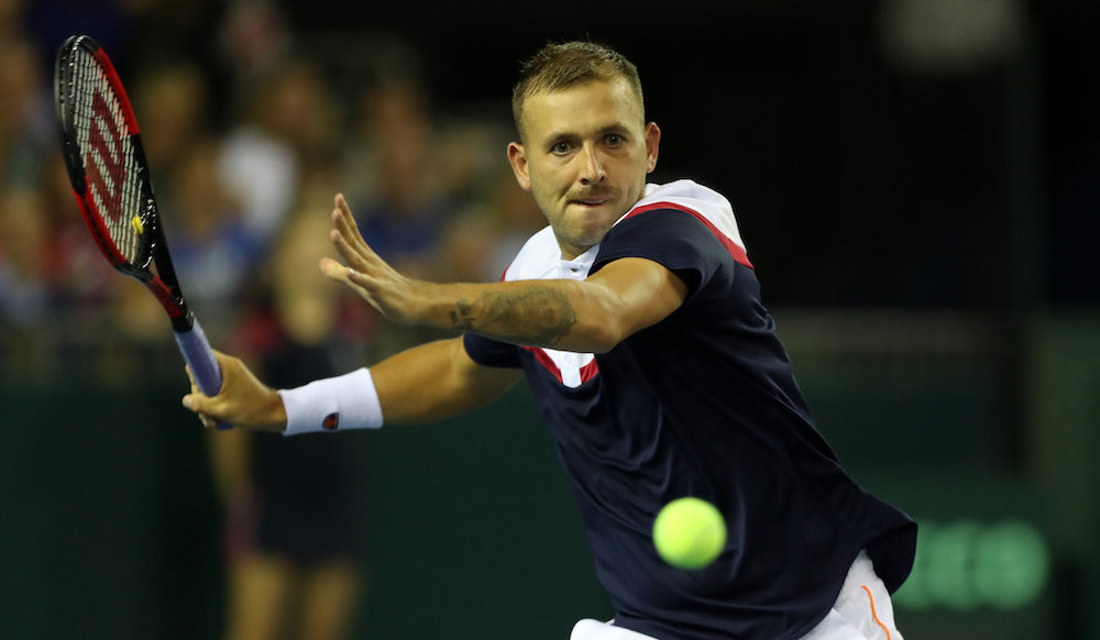 Dan Evans in the Davis Cup World Group Play-off between Great Britain and Uzbekistan, 2018