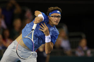 Denis Istomin in the Davis Cup World Group Play-off between Great Britain and Uzbekistan, 2018