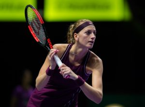 Petra Kvitova in the first round robin match of the WTA Finals 2018, Singapore