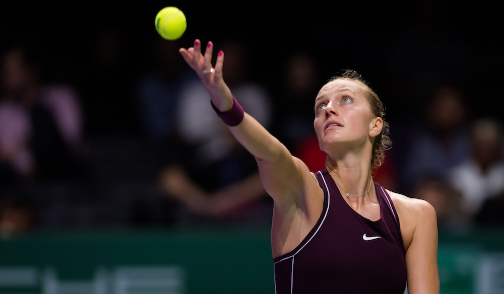 Petra Kvitova in the second round-robin match at the WTA Finals 2018, Singapore