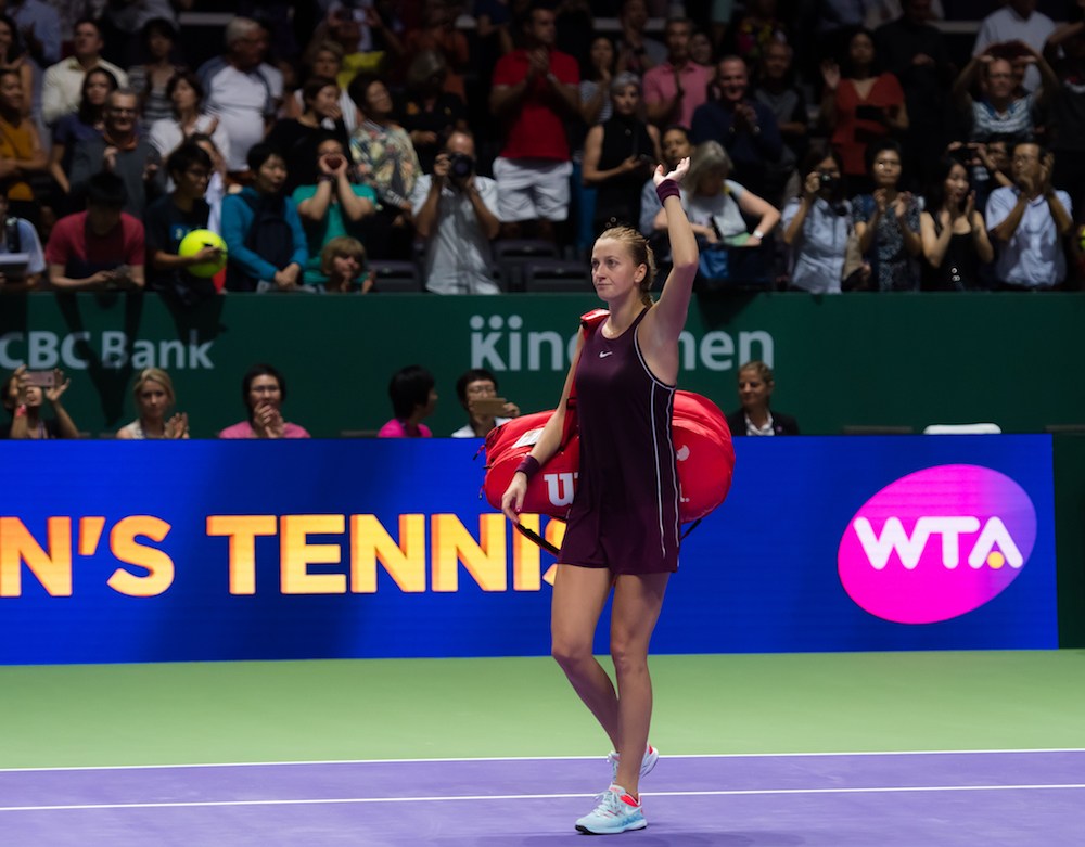 Petra Kvitova in the second round-robin match of the WTA Finals 2018, Singapore