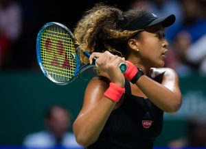 Naomi Osaka in the first round robin match of the WTA Finals 2018, Singapore