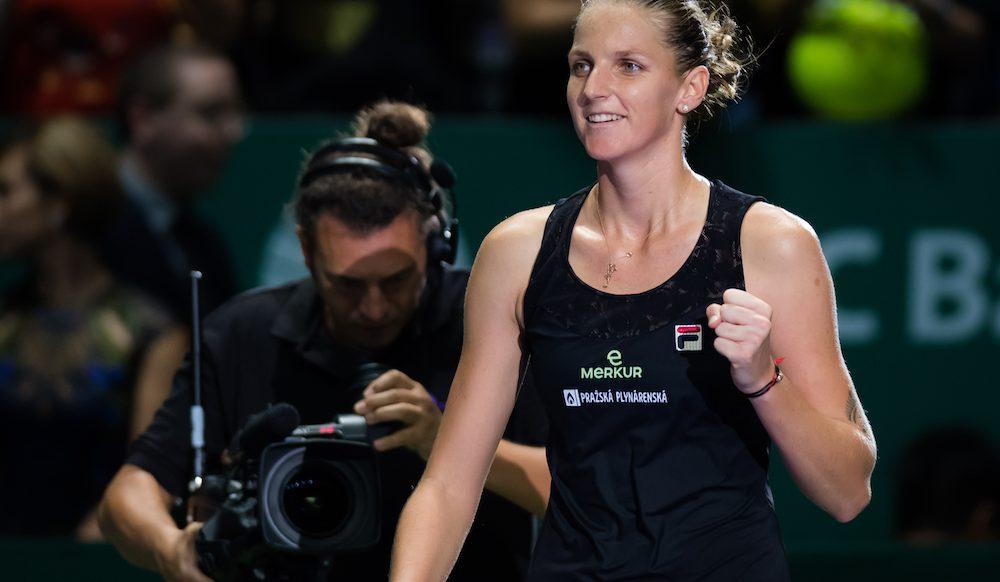Karolina Pliskova in the first round robin match of the WTA Finals 2018, Singapore